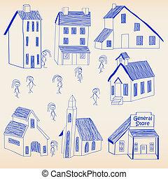 Hand Drawn Little Town Icon Set