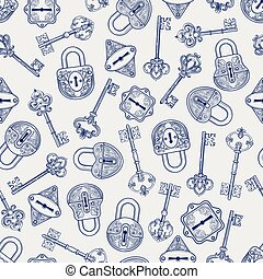 Hand drawn locks and keys pattern