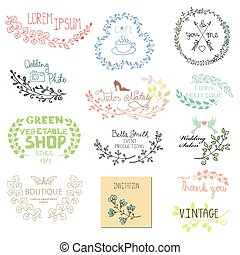 Hand drawn logo templates set.Branches - Hand drawn logo...