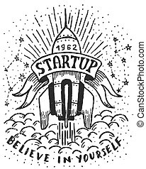 Hand-drawn logo with a flying rocket