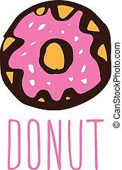 Hand drawn logo with donut. Vector illustration