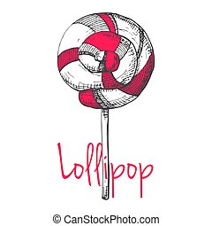 Hand drawn lollipop isolated on white background. Vector illustration of a sketch style.