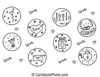 Hand drawn love and hearts doodles icon set , vector illustration