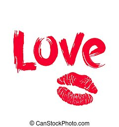 Hand drawn Love and lipstick kiss