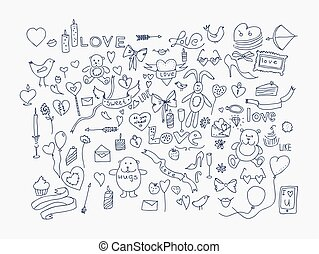 Hand drawn love doodle icons vector illustration.
