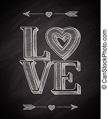 Hand Drawn Love Poster - Love typographic poster. Hand drawn...