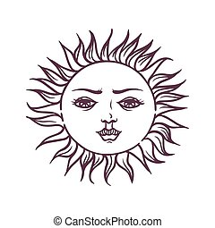 Hand drawn magic esoteric sun planet star vector illustration