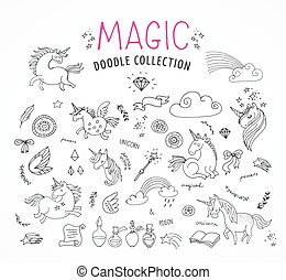 hand drawn, magic, unicorn and fairy doodles, sketches