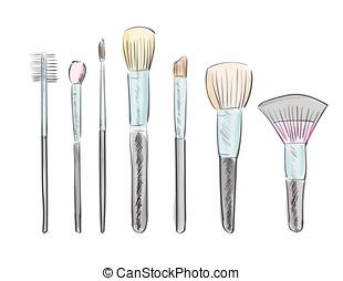 hand drawn makeup brushes - Set of hand drawn makeup brushes