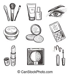 Hand drawn makeup icons