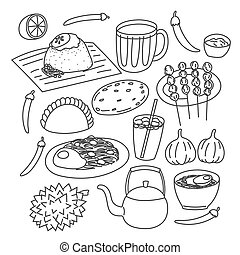 Hand drawn Malaysia most famouse food