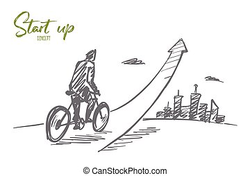 Hand drawn man going up on bicycle with lettering