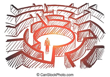 Hand drawn man standing in center of labyrinth