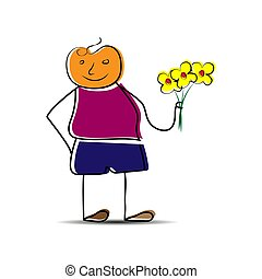 Hand-drawn man with a bouquet of flowers in his hand