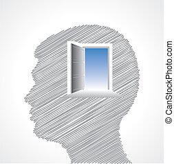 Hand drawn man's face with door in his head stock vector