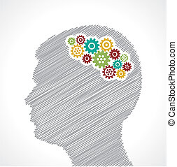Hand drawn man's face with gears in his head stock vector