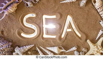 hand-drawn, mar, símbolo, em, a, sand., praia, experiência., vista superior
