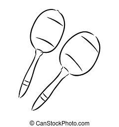 Hand Drawn Maracas Sketch Symbol. Vector Rattle Element In Trendy Style.