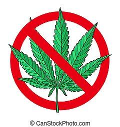 Hand drawn marijuana leaf stop sign