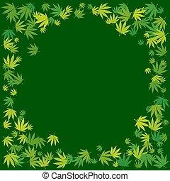 Hand drawn marijuana leaves frame background