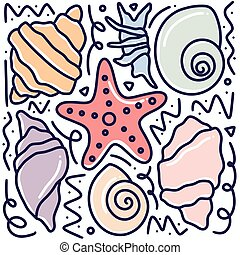 hand drawn marine biota doodle set with icons and design elements