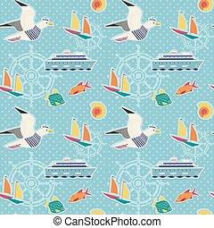 Hand drawn maritime stickers seamless pattern. Childlike...