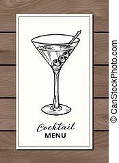 Hand drawn martini cocktail