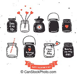 hand drawn mason jar collection, love quotes - hand drawn...