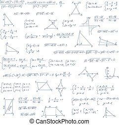 Hand drawn mathematical equation with handwritten algebra ...