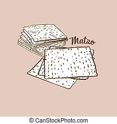 Hand-drawn Matzo bread illustration. Flatbread, usually ...