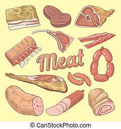 Hand Drawn Meat Doodle with Pork, Sausages and Ham....
