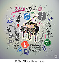 Hand drawn media icons set and sticker with piano