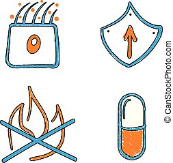 Hand drawn medical vector blue and orange vector icons....