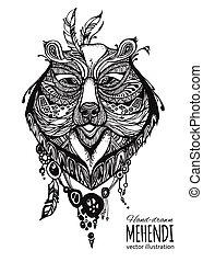 Hand-drawn mehendi elephant.  Ethnic african, indian, totem tatoo design.