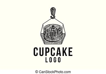 hand drawn melted cupcake, and crane logo Designs Inspiration Isolated on White Background