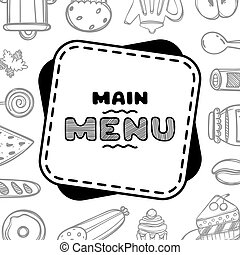 Hand drawn menu for cafe with food.