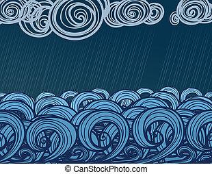 hand-drawn, mer, vagues