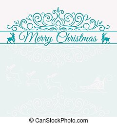 Hand Drawn Merry Christmas Decoration Of Calligraphic Design Element with reindeer