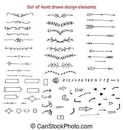 hand-drawn, mettez stylique, éléments