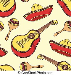 Hand drawn mexican seamless pattern in vector
