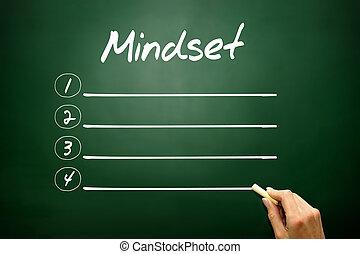 Hand drawn MINDSET blank list concept on blackboard  Hand drawn