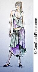 hand-drawn, modelo moda