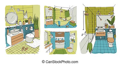 Hand drawn modern bathroom and toilet interior design collection. Colorful vector sketch illustrations set.