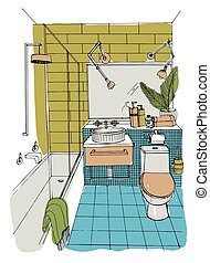 Hand drawn modern bathroom interior design. Vector colorful sketch illustration.