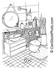 Hand drawn modern bathroom interior design. Vector sketch illustration.