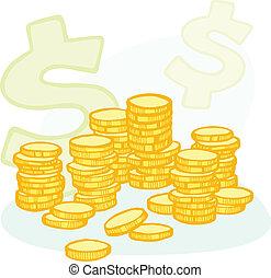 hand-drawn, moeda, pilhas, e, dinheiro, símbolos