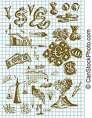hand drawn money symbols