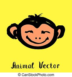 Hand drawn monkey , doodle vector illustration