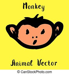 Hand drawn monkey , doodle vector illustration