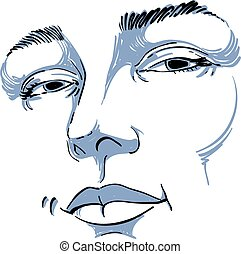 Hand-drawn monochrome portrait of white-skin flirting woman, face emotions theme illustration. Beautiful sexy lady posing on white background, girl with delicate face features.